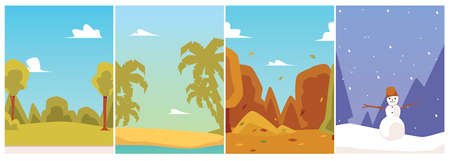 Backgrounds of four seasons - spring, summer, autumn, and winter. A set of vector cards or posters. A collection of flat cartoon illustrations.