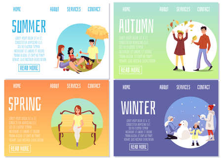 A set of illustrations of people activities during four seasons-summer, winter, spring, and autumn. Vector cartoon templates for web page design. 免版税图像 - 151114172