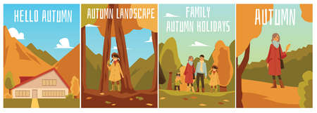 A set of vector illustrations with happy people on the background of an autumn landscape. Image of a house in the mountains in autumn. Colorful templates of autumn posters with inscriptions for your design.