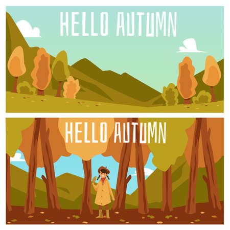 Hello autumn banners or posters design with fall season forest and hills landscape, flat vector illustration. Autumn nature backgrounds or flyer layout collection.