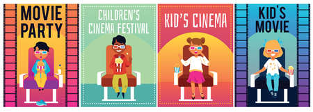 Set of posters for the film festival. Children's cinema party. Children in 3d glasses watch movies. Colorful vector illustration.