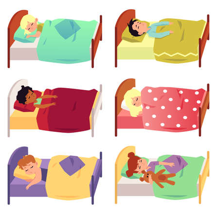 Set of children cartoon characters sleeping in bed under blanket, flat vector illustration isolated on white background. Sweet dreams and good night images collection.