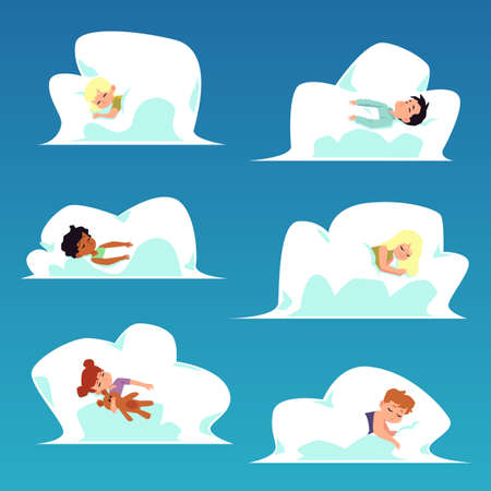 Sweet kids cartoon characters set sleeping in clouds, flat vector illustration isolated on sky blue background. Sweet dreams and good night topic bundle.