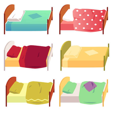 Set of children cute beds with blanket and pillow flat vector illustration isolated on white background. Colorful cartoon icons of kids bed for night rest. Stock Illustratie