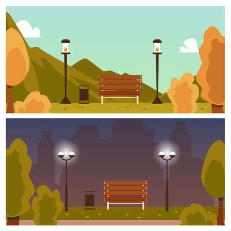Set of day and night autumn landscape backgrounds, flat vector illustration. Bench with lanterns in park scenery among yellow trees and hills in fall season. 矢量图像
