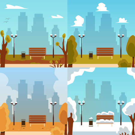 Set of four seasons square banners set flat vector illustration. City park landscape with bench and urban skyline in winter and summer, autumn and spring.