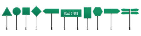 Green blank road signs in different shapes set, realistic illustration isolated on white background. Traffic or highway direction signboards collection.