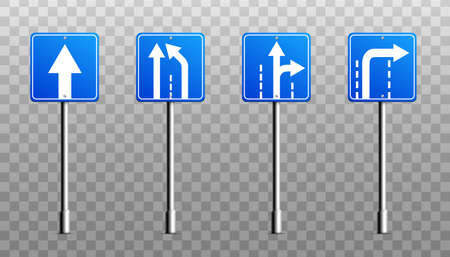 Set of square blue sign boards or metal signage with direction arrows, realistic illustration isolated on transparent background. Road signs collection.