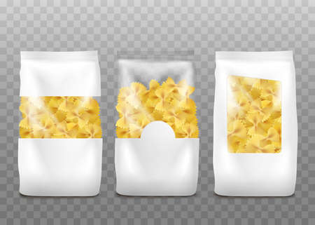 Farfalle pasta packaging mockup set isolated on transparent background - realistic white bags with clear plastic windows showing raw bow shaped pasta inside illustration