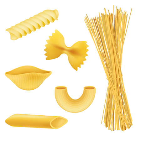 Different pasta shapes - realistic set isolated on white background. Italian food collection - fusilli, farfalle, spaghetti and other types of raw macaroni, illustration. Vettoriali