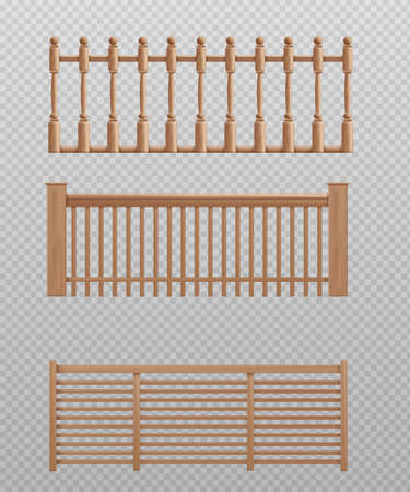Wooden banister set - realistic balcony barrier or wood safety handrail collection isolated on transparent background.