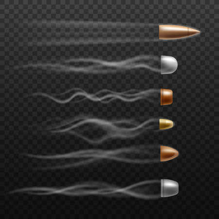 Realistic flying bullet set with different trace trails on dark transparent background. Gold, silver and copper bullets with fast speed smoke -  illustration. Illustration