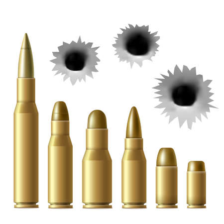 Realistic metal bullet and gunshot hole set isolated on white background - brass gold color military ammunition in different sizes.