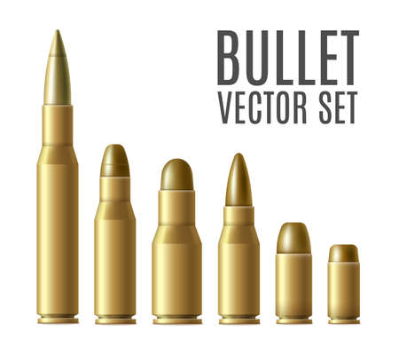 Gold metal bullet set isolated on white background - different types of long and short bullets for gun and rifle. Military ammunition collection - realistic illustration. Ilustração