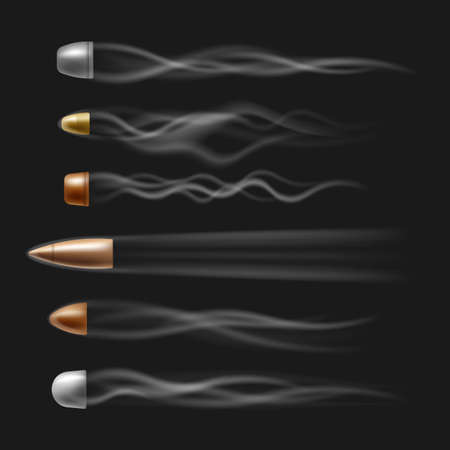 Flying bullet set with realistic smoke trace isolated on black background. Silver and copper gun shot bullets in air with fast motion trails - illustration.