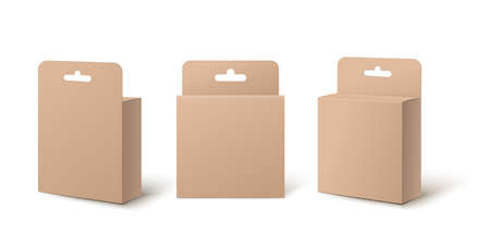 Realistic small retail package box mockup set from front, back and side view isolated on white background. Little packs with hang tab and hole cut outs - illustration.