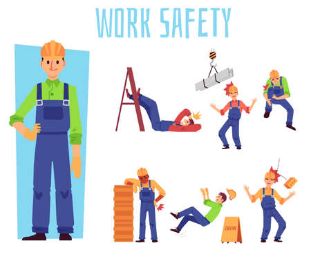 Work safety set with cartoon builder men in pain from falling objects and unsafe working environment. Workers with injured body parts - flat isolated illustration.