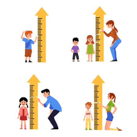 Kid height measure chart set - little cartoon children standing by ruler for growth measurement by parent. Isolated flat illustration on white background.