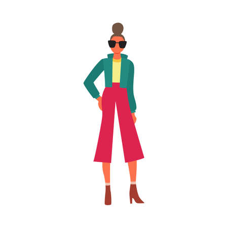 Female fashion model posing in designer clothes - cartoon woman in fashionable clothing standing in elegant pose isolated on white background. Flat vector illustration.