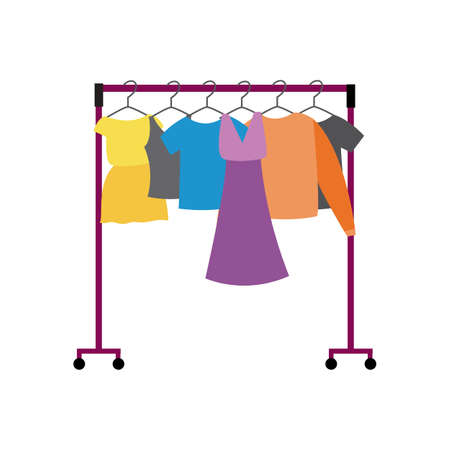 Showroom rack with women clothes flat cartoon vector illustration isolated on white background. Fashion show or theater dressing room hanger frame icon. Ilustrace