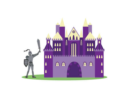 Cartoon knight in metal armor standing by purple medieval castle isolated on white background. Fantasy fortress and man holding a sword - flat vector illustration