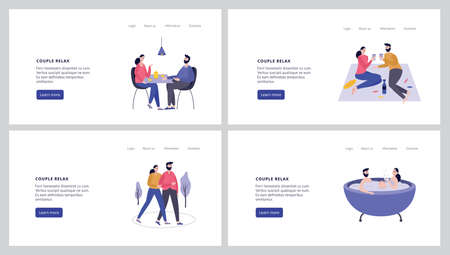 Young people walk holding hands, have a picnic or romantic dinner, take a bath together. Relaxing scenes of a romantic relationship of a charming couple. A set of vector illustrations for web design.