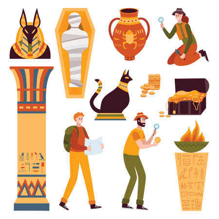 A set of ancient Egyptian symbols. Characters of scientists, Egyptologists, archaeologists or treasure hunters. Collection of vector icons isolated on a white background. 일러스트