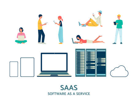SAAS cloud information exchange internet technology set with people characters and server computer facilities, flat vector illustration isolated on white background.