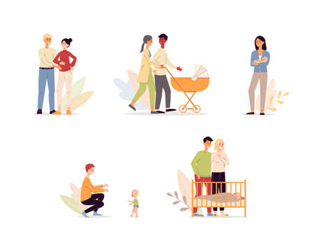 Happy maternity and parenthood cartoon characters set flat vector illustration isolated on white background. Mother and father in period of pregnancy and child parenting.