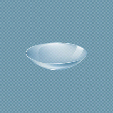 Template of clear eye contact lens, realistic vector illustration isolated on transparent background. Ophthalmology vision correction soft lens mockup for packaging.