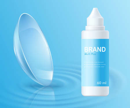 Banner template for eye contact lenses ad with bottle of fluid on blue background, realistic vector illustration. Mockup or layout for soft lenses promo materials.