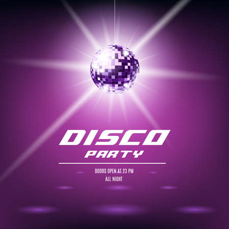 Disco party poster template with shiny purple disco ball hanging from ceiling. Night club event invitation flyer with glowing sparkling mirror sphere, vector illustration.