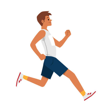 Happy sprinter man running very fast - side view of cartoon runner man jogging isolated on white background. Male athlete in mid jump - flat vector illustration.