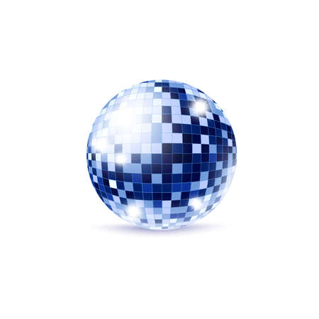 Blue mirror disco ball with burst lights template, realistic vector illustration isolated on white background. Sphere object for retro party banners and invitations.