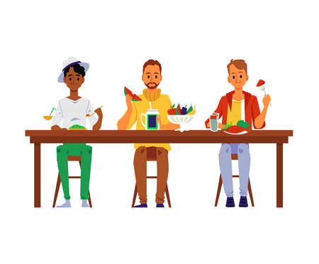 Diverse cartoon men characters eating together at the table, flat vector illustration isolated on white background. Business lunch break or friendly dinner.