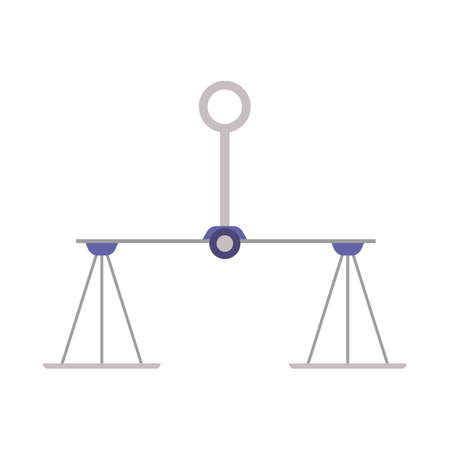 Hanging weigher or bowl balancing scales cartoon icon or symbol, flat vector illustration isolated on white background. Justice and measurement symbol or sign.