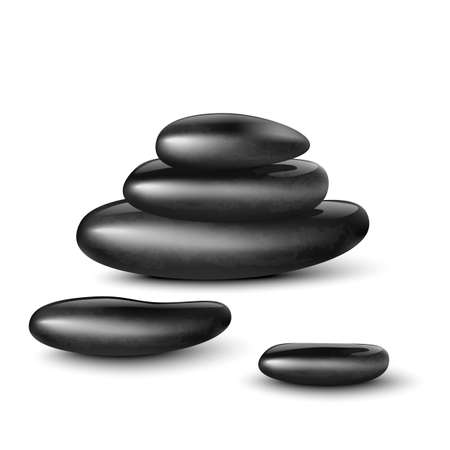 Template of SPA black massage stones or rounded rocks for aromatherapy, realistic vector illustration isolated on white background. Body relaxation and beauty procedure. Ilustración de vector
