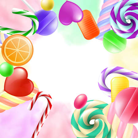 Banner template with sugar sweets and candies realistic vector illustration. Background mockup with frame of lollipops and bonbons and empty space for text.
