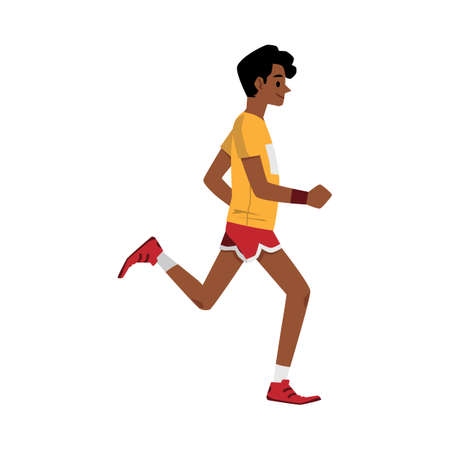 Side view of cartoon runner jogging in summer workout clothes - happy sprinter man running isolated on white background. Flat vector illustration.