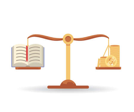 Balance scales weighing book and money equally - knowledge and wealth comparison concept. Education as equal to gold coins and worth the investment - flat isolated vector illustration.