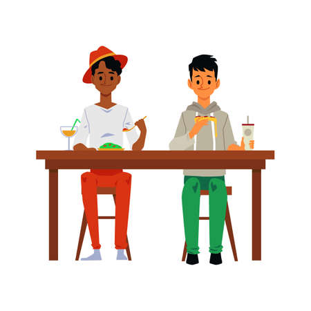Two people eating foot together at the table - happy cartoon men sitting and having lunch or dinner together isolated on white background. Vector illustration.