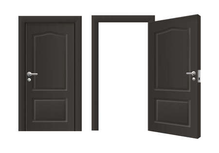 Open and closed front door of black wood - realistic two panel house doorway shut and opened with blank empty frame. Isolated vector illustration of interior element