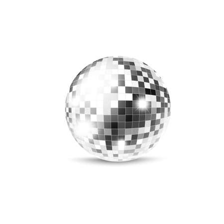 Mirror sphere or disco ball template, realistic vector illustration isolated on white background. Retro music party decorative element for posters and banners. Vektorové ilustrace
