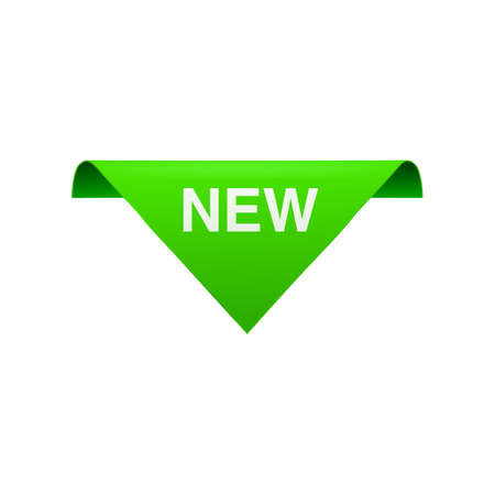 New green corner banner or badge template, realistic vector illustration isolated on white background. Page divider element or sticker for sales promotion mockup. 向量圖像