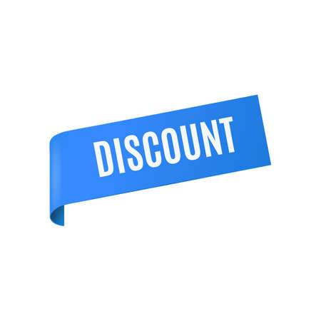 Corner blue ribbon with word Discount realistic vector illustration isolated on white background. Sign or label for advertising banners and pages of catalog brochures. 向量圖像