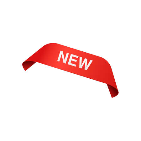 Corner red ribbon or banner with word New realistic vector illustration isolated on white background. Sticker or label design for sales and new product advertising.