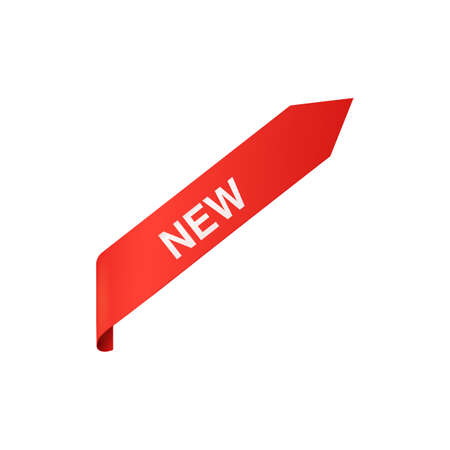 Corner ribbon red banner or label with word New realistic vector illustration isolated on white background. Catalog pages and posters design element or sticker.