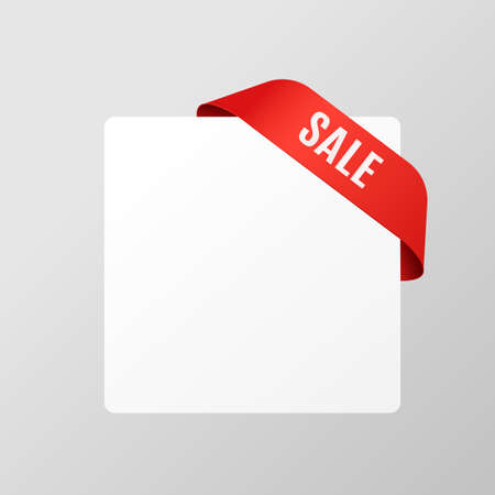 Sale banner template with red ribbon wrapping corner of blank white sheet, realistic vector illustration isolated on grey background. Advertising flyer or poster mockup. 向量圖像