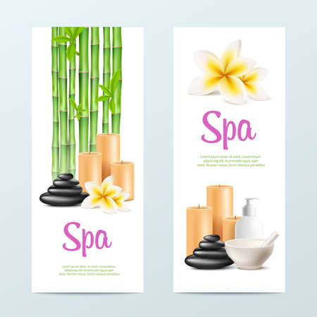 Set of cards for SPA salon massage and relaxation beauty procedures, realistic vector illustration on white background. Aromatherapy and body care banners design.