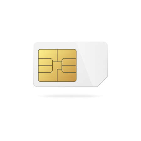 Cellular mobile phone blank plastic sim card with golden microchip electronic scheme template, realistic vector illustration isolated on white background.